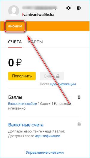 Аноним в Яндекс Деньги