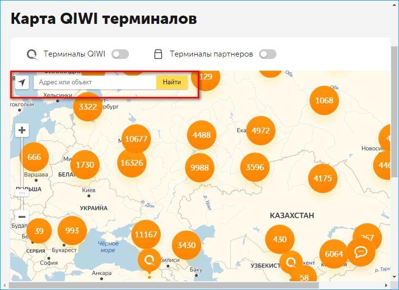 Карта терминалов Qiwi