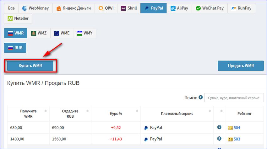 Купить WMR за PayPal