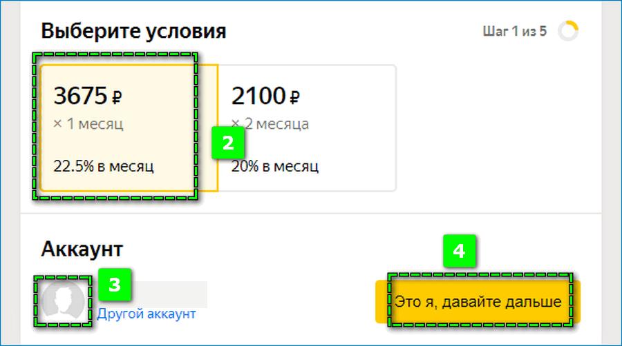 Оформление заявки на займ Яндекс
