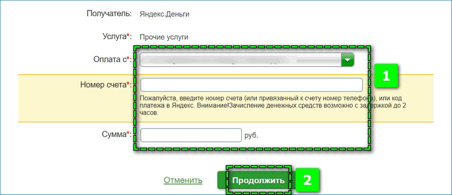Перевод на Яндекс через интернет банкинг