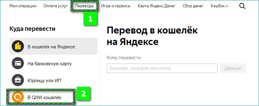 Перевод с Яндекса на Киви