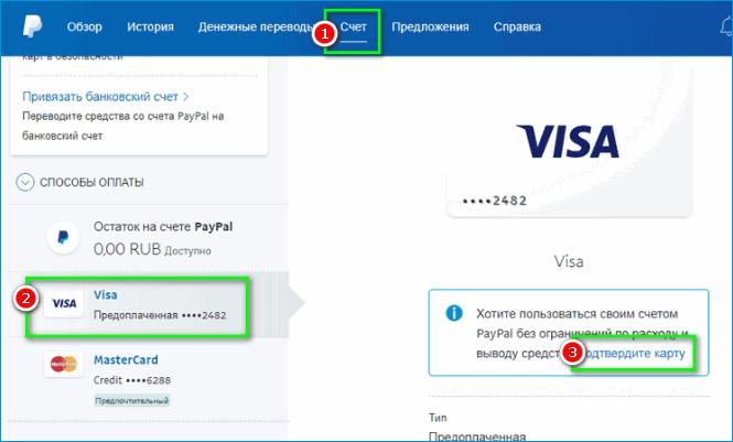 Подвтерждение карты в PayPal