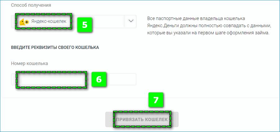 Привязка Яндекс кошелька к МФО
