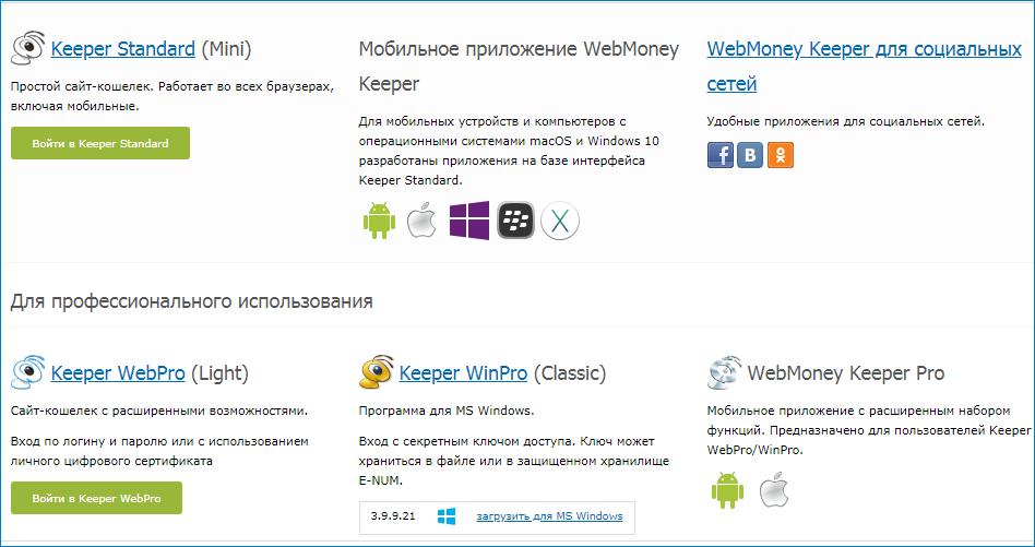 Разновидности Webmoney