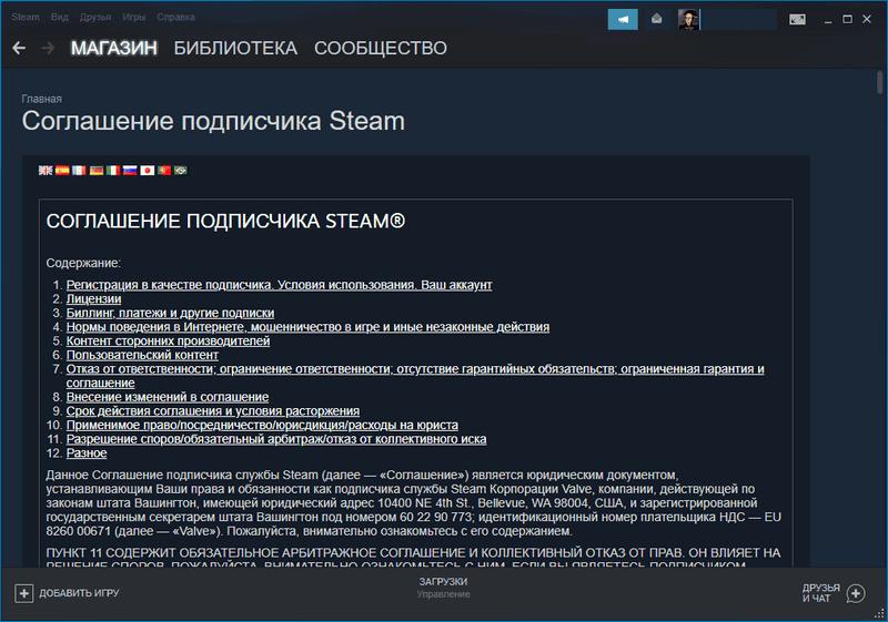 Соглашение подписчика Steam открытое в клиенте
