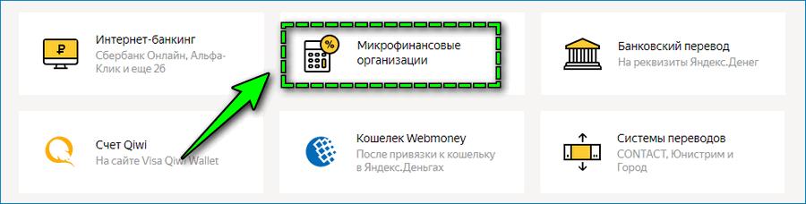 Список организаций МФО в Яндекс Деньгах