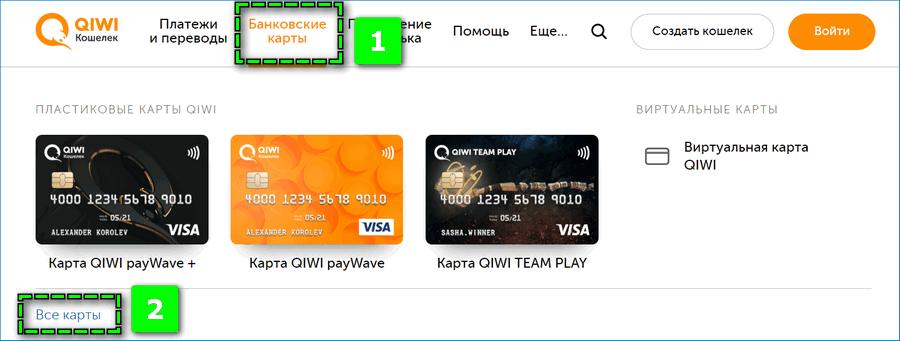 Виды карт от QIWI
