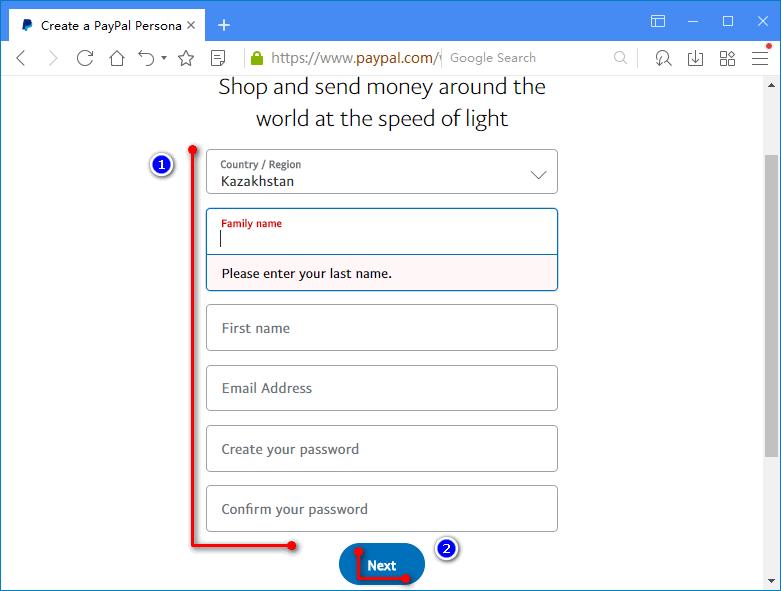 Заполнение формы регистрации платежной системы PayPal