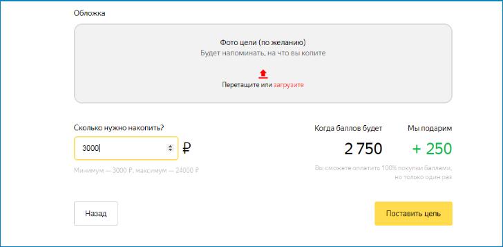 Достижение цели с помощью баллов Яндекс Деньги