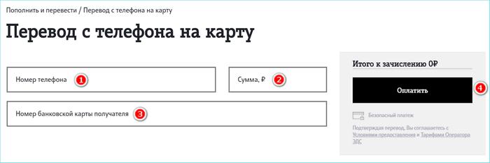 Форма для перевода с телефона на карту на сайте теле2