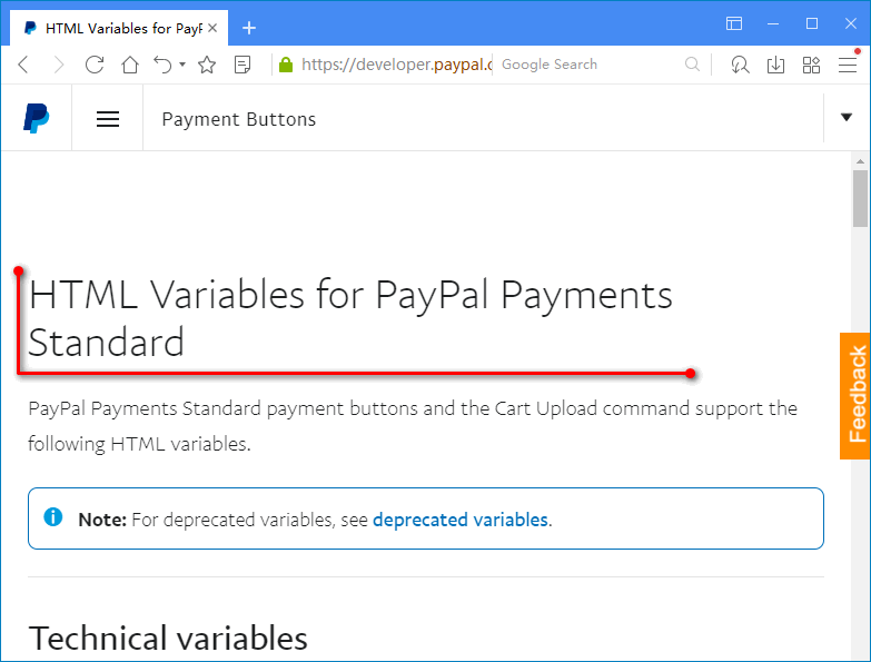 HTML Variables for PayPal Payments Standard