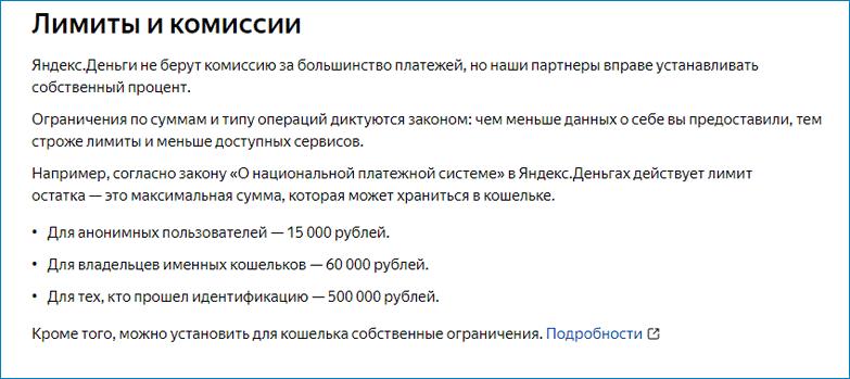 Лимиты на операции Яндекс.Деньги