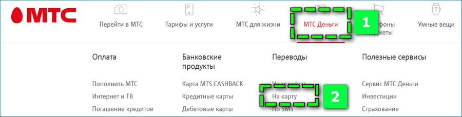 Перевод на карту с МТС