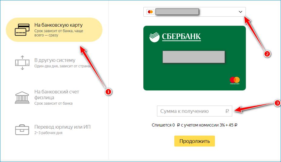 Перевод с Яндекс кошелька на прикрепленную карту Сбербанка