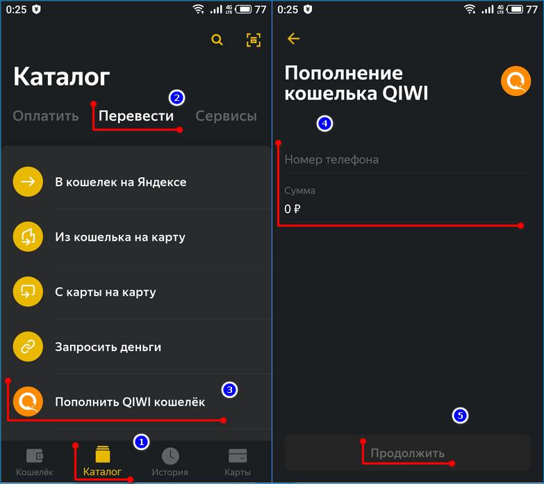 Перевод средств из Яндекс.Деньги в Qiwii в мобильном приложении
