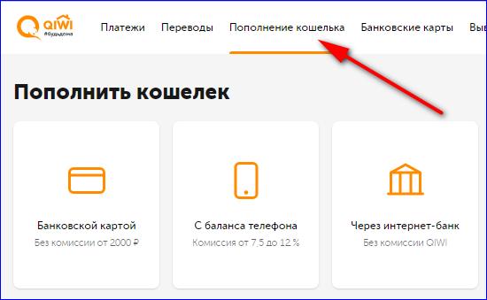 Пополнение кошелька QIWI с карты или номера телефона