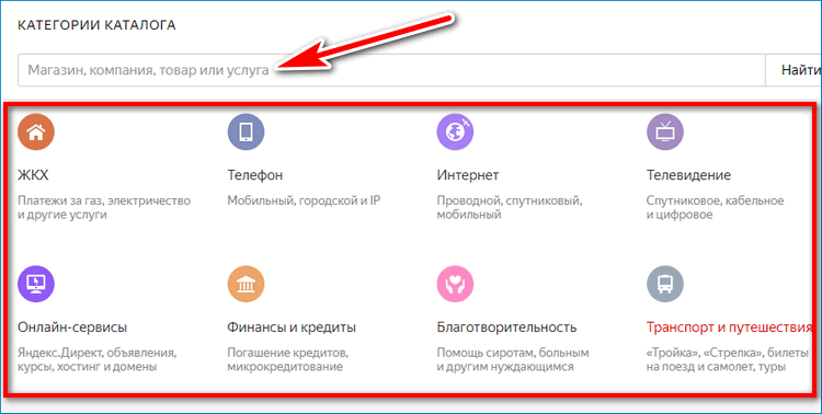 Каталог Yandex