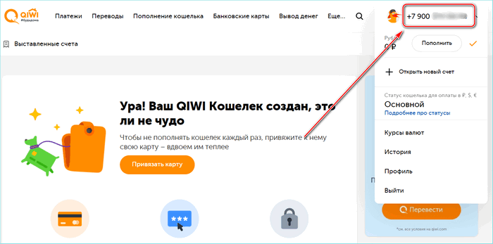 Номер кошелька Киви на главной странице сайта