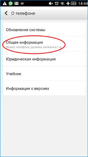 Общая информация о телефоне в настройках Android
