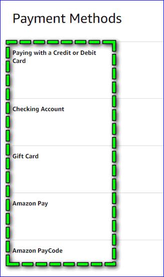Способы оплаты Amazon