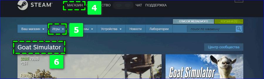 Выбор игры в Steam