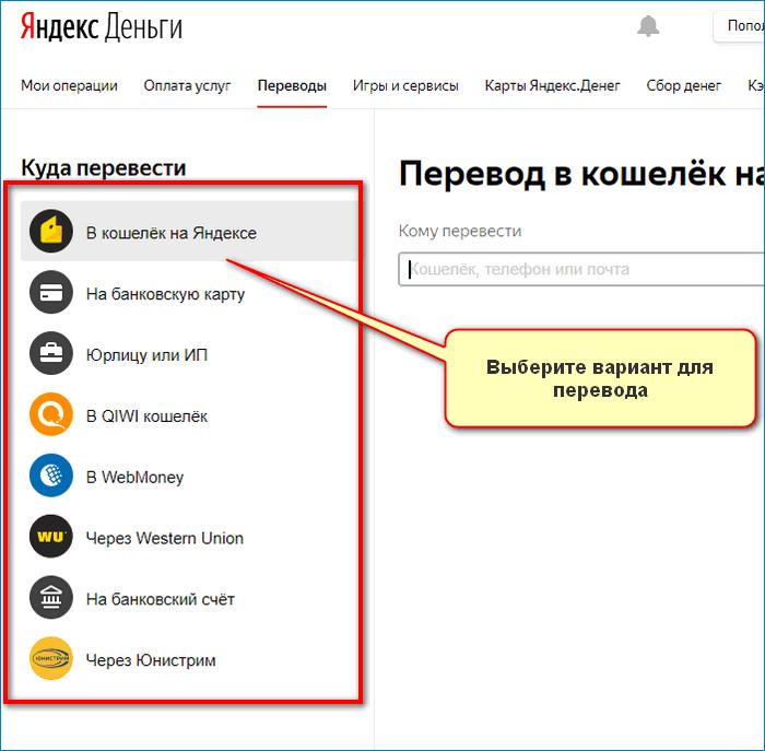 Выбор способа Yandex